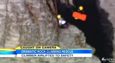 Good Morning America Coverage Of Challenge Competitor David Bowman Rescuing a Climber On The Side Of A Mountain